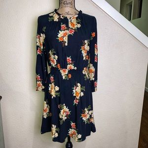 LOFT navy blue dress w floral print, long sleeve